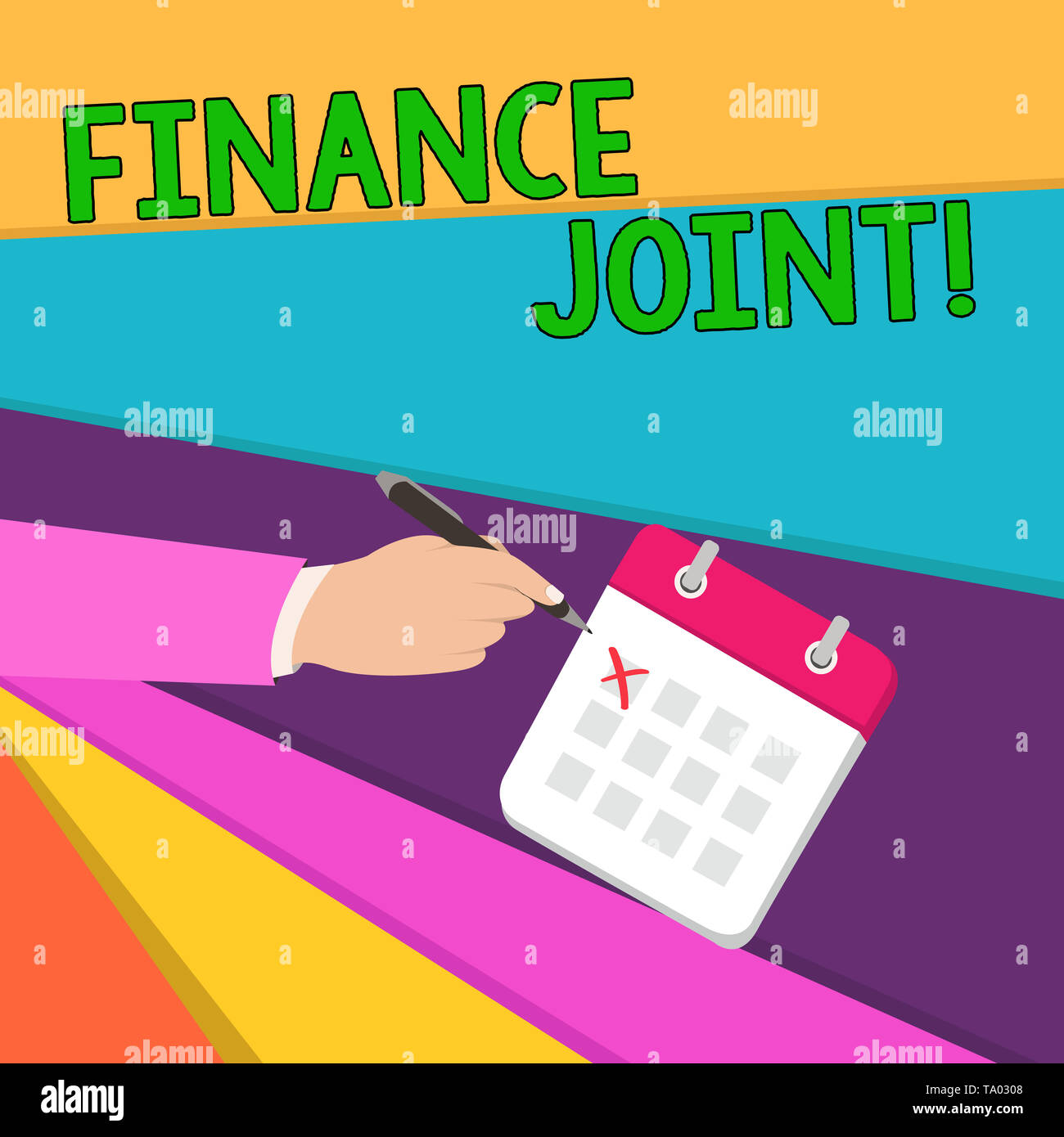 Handwriting text writing Finance Joint. Conceptual photo provision of funds for a project came from two or more sources Male Hand Formal Suit Crosses  - Stock Image