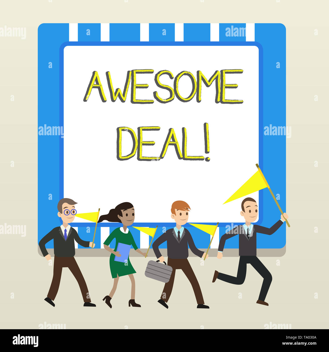 Word writing text Awesome Deal. Business photo showcasing A large but indefinite quantity as like as a good deal of money People Crowd Flags Pennants  - Stock Image