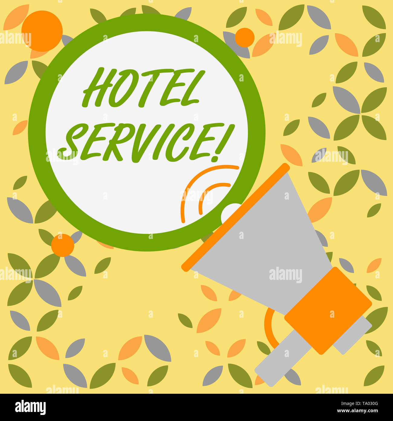 Word writing text Hotel Service. Business photo showcasing Providing guests warm accommodation and other services SpeakingTrumpet Empty Round Stroked  - Stock Image