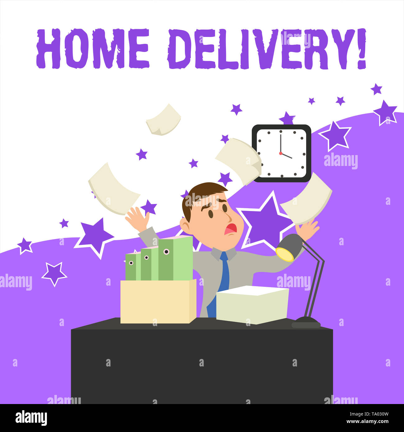 Text sign showing Home Delivery. Business photo showcasing act of taking goods or parcel directly to customers home Confused Male Employee Manager Clu - Stock Image