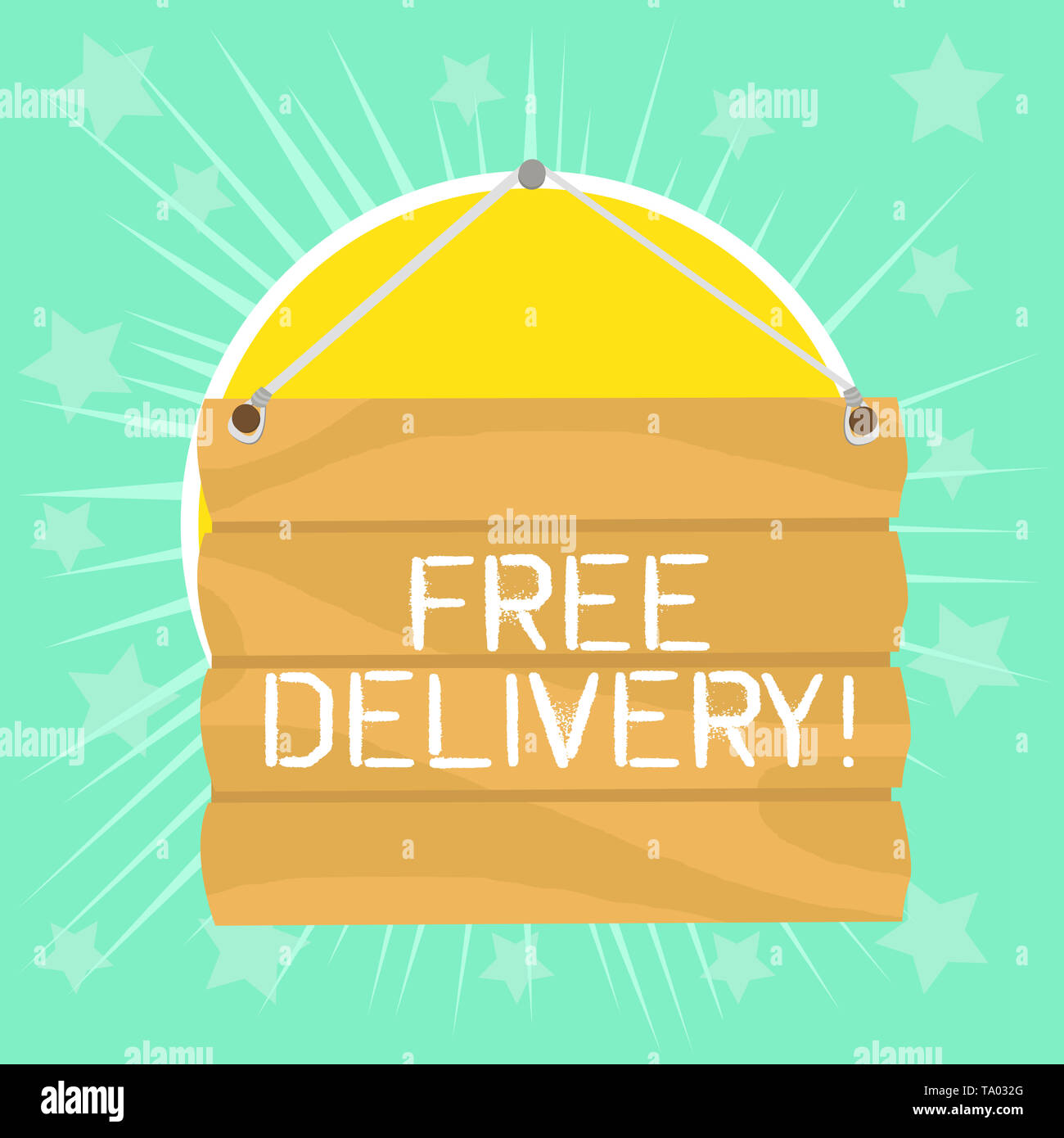 Text sign showing Free Delivery. Business photo showcasing directly deliver to the recipient s is address without charge Hook Up Blank Sign Plate. Emp - Stock Image