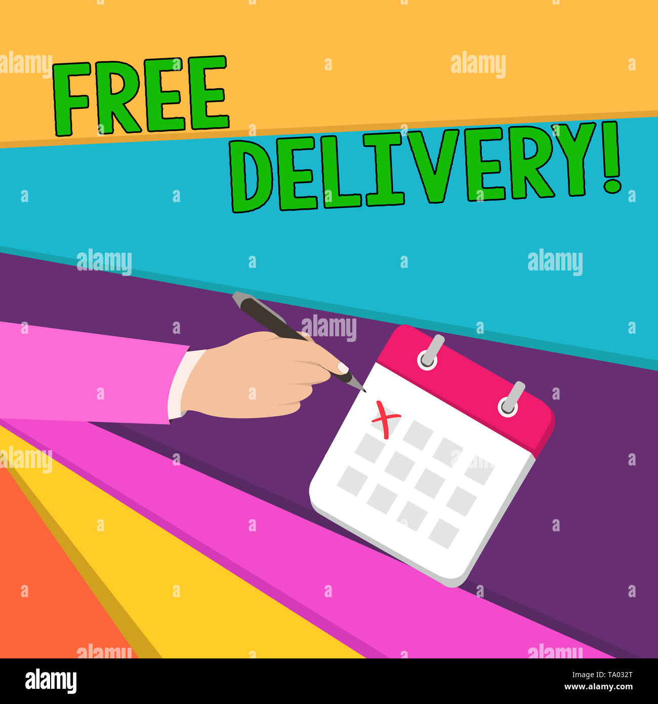 Handwriting text writing Free Delivery. Conceptual photo directly deliver to the recipient s is address without charge Male Hand Formal Suit Crosses O - Stock Image