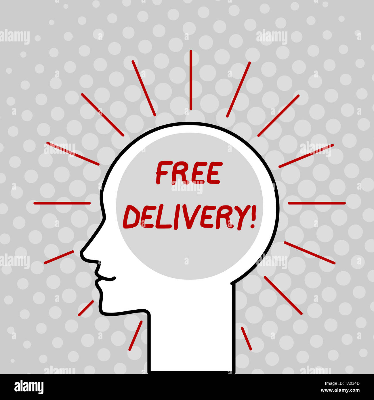 Writing note showing Free Delivery. Business concept for directly deliver to the recipient s is address without charge Outline Silhouette Human Head S - Stock Image