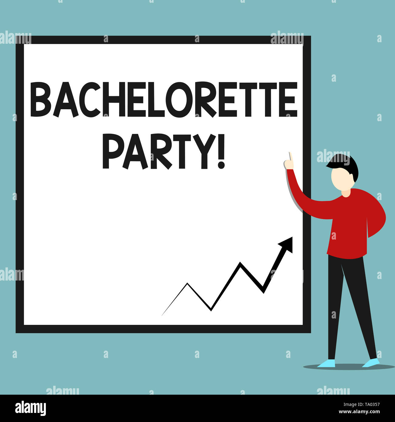 Word writing text Bachelorette Party. Business photo showcasing a party given for a woanalysis who is about to get married Zigzag arrow line diagram c - Stock Image
