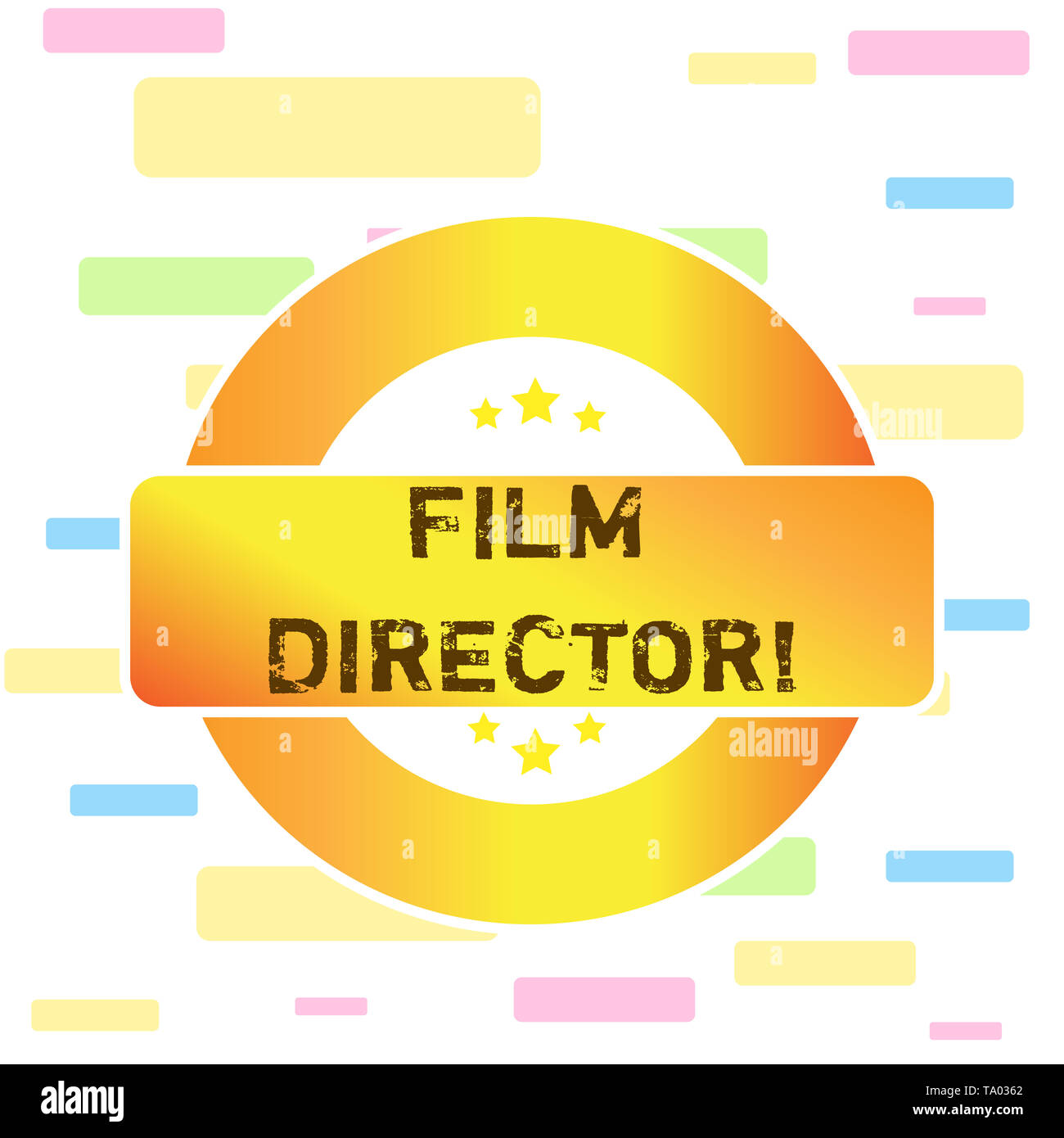 Conceptual hand writing showing Film Director. Concept meaning a demonstrating who is in charge of making and directing a film Colored Round Shape Lab - Stock Image
