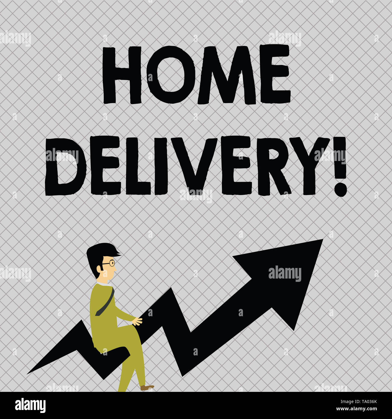 Conceptual hand writing showing Home Delivery. Concept meaning act of taking goods or parcel directly to customers home Businessman with Eyeglasses Ri - Stock Image