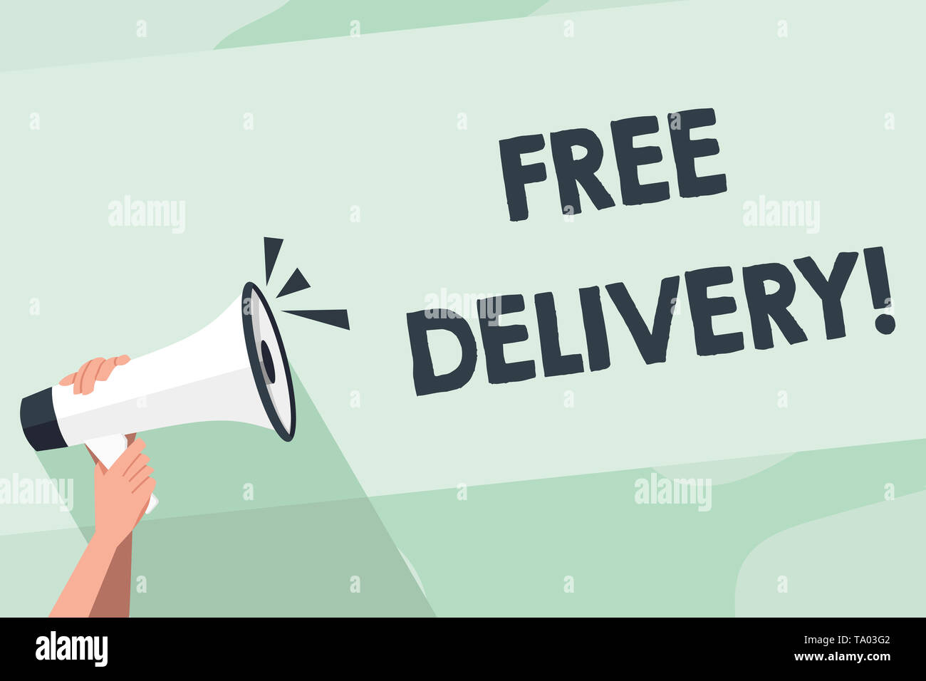 Word writing text Free Delivery. Business photo showcasing directly deliver to the recipient s is address without charge Human Hand Holding Tightly a  - Stock Image