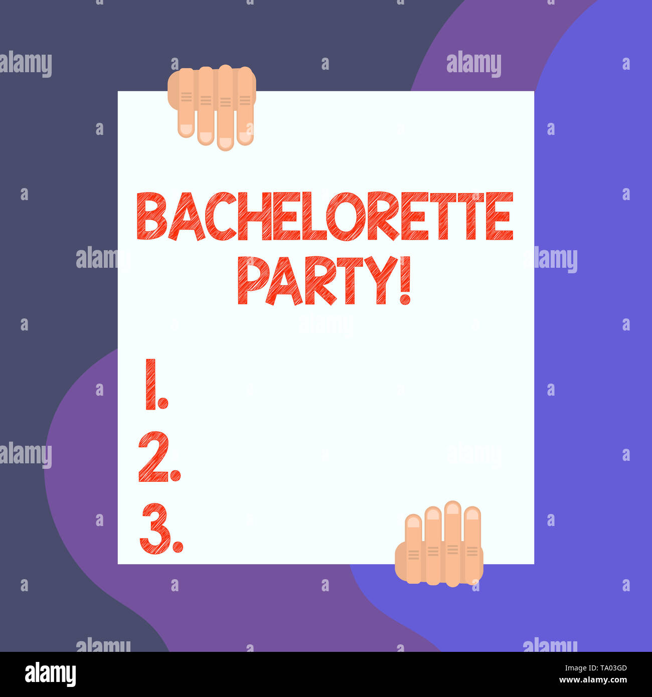 Handwriting text writing Bachelorette Party. Conceptual photo a party given for a woanalysis who is about to get married Two hands hold one big empty  - Stock Image
