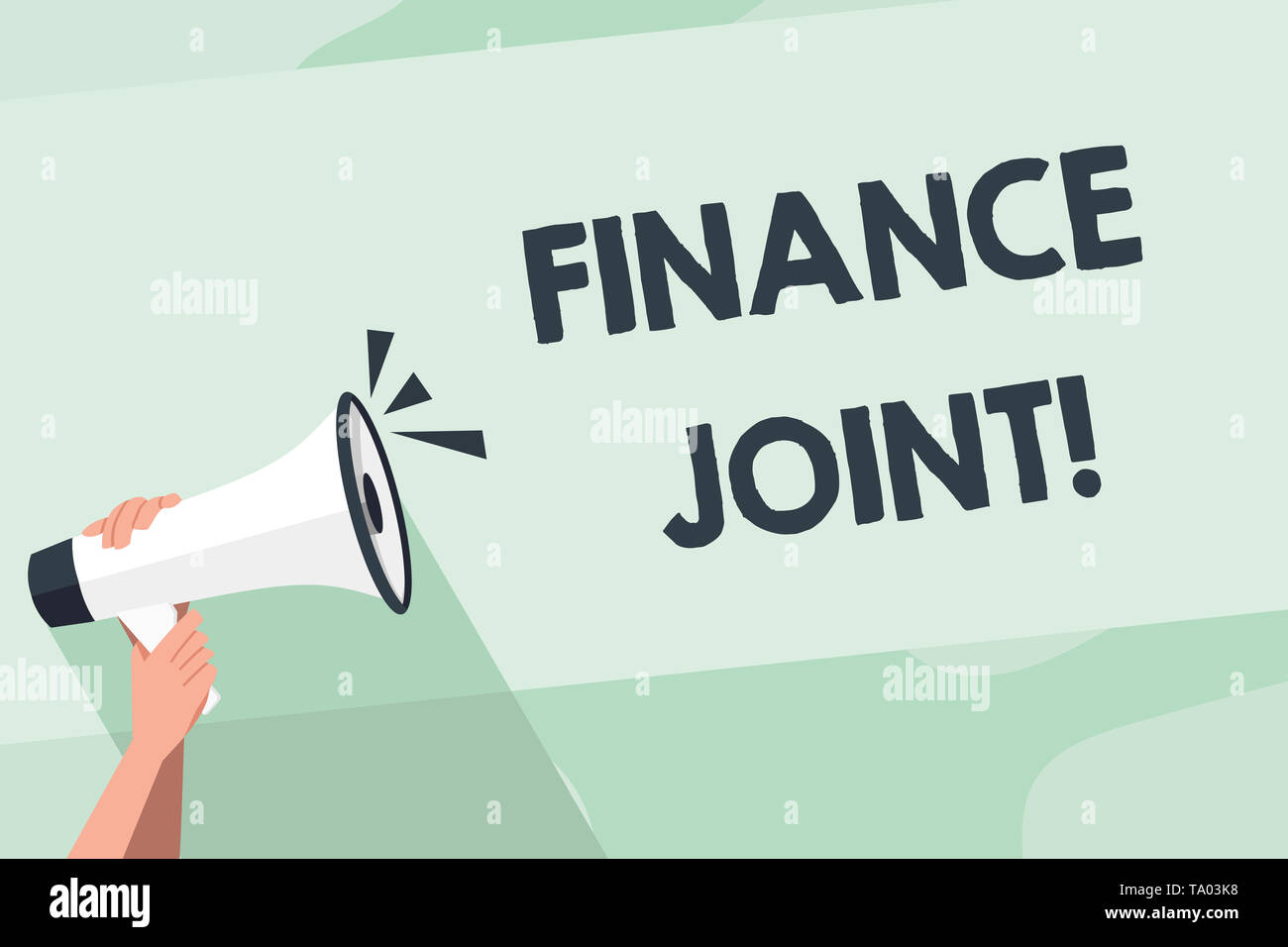 Word writing text Finance Joint. Business photo showcasing provision of funds for a project came from two or more sources Human Hand Holding Tightly a - Stock Image
