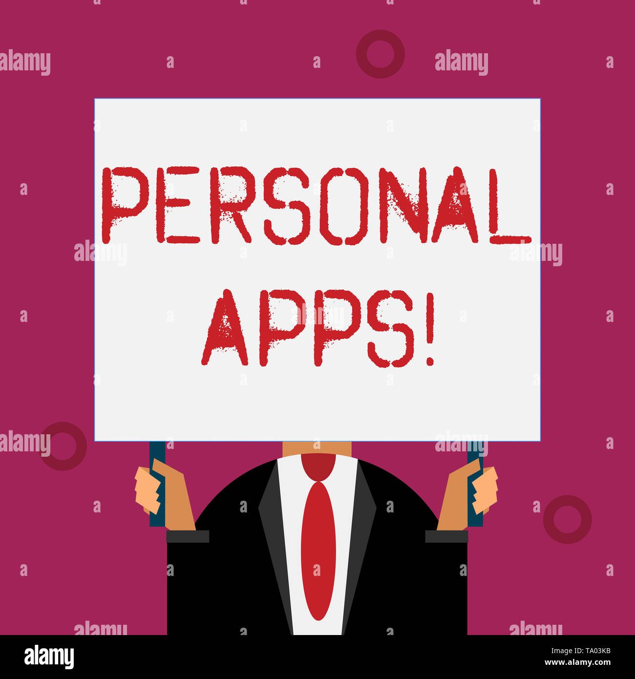 Writing note showing Personal Apps. Business concept for App for secure password less validation to online services - Stock Image