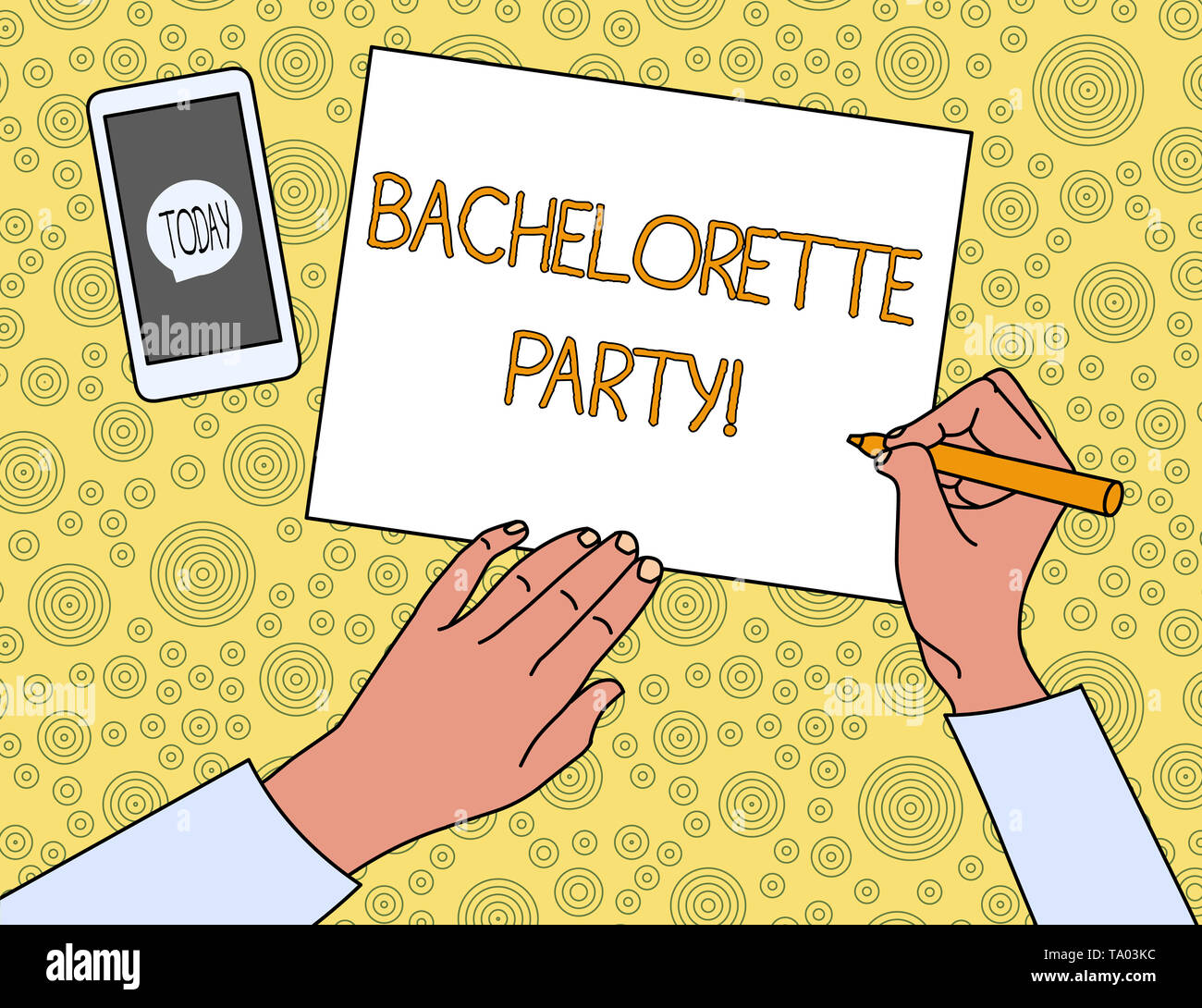 Handwriting text Bachelorette Party. Conceptual photo a party given for a woanalysis who is about to get married Top View Man Writing Blank Paper Pen  - Stock Image
