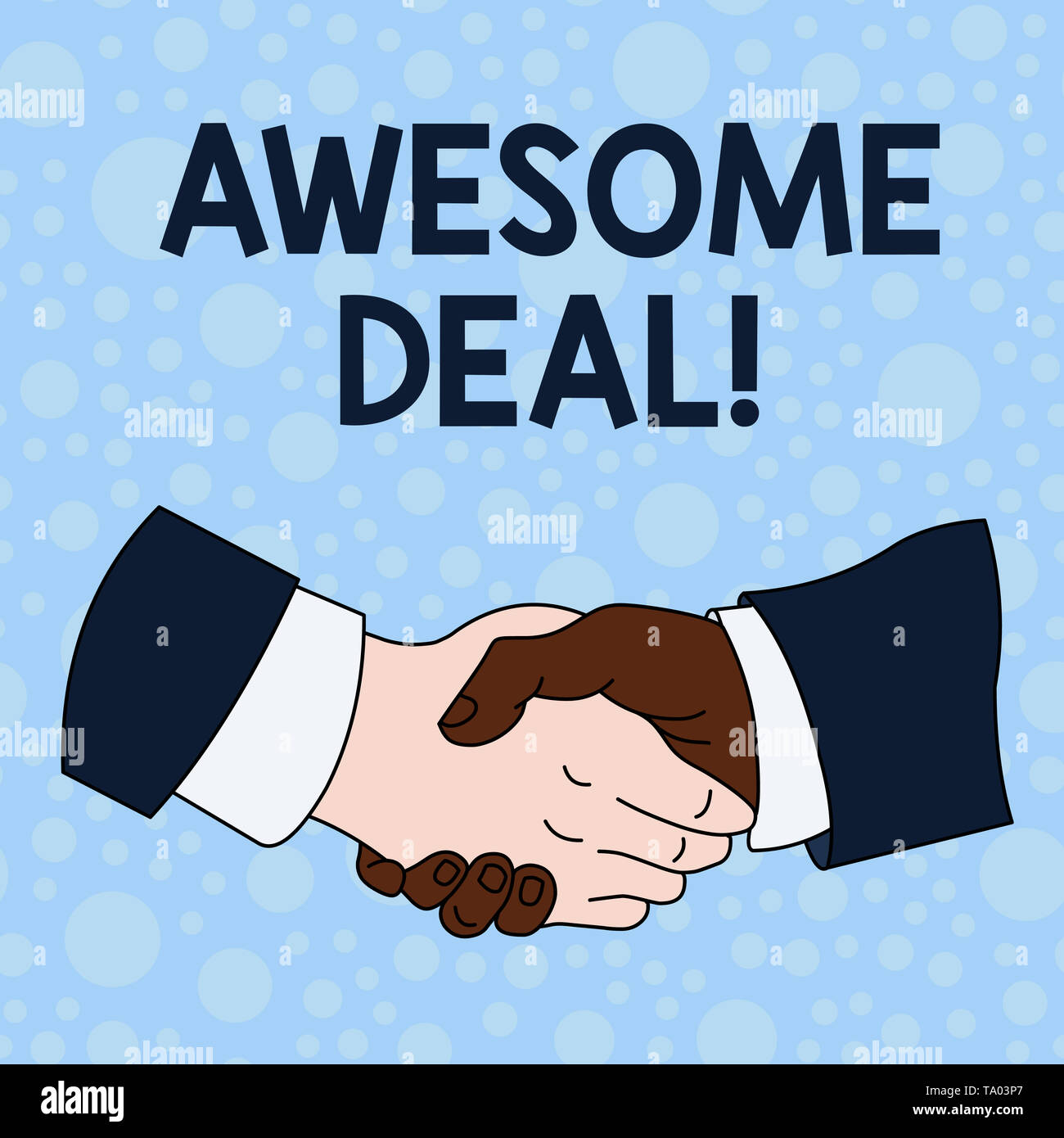 Handwriting text writing Awesome Deal. Conceptual photo A large but indefinite quantity as like as a good deal of money Hand Shake Multiracial Male Bu - Stock Image