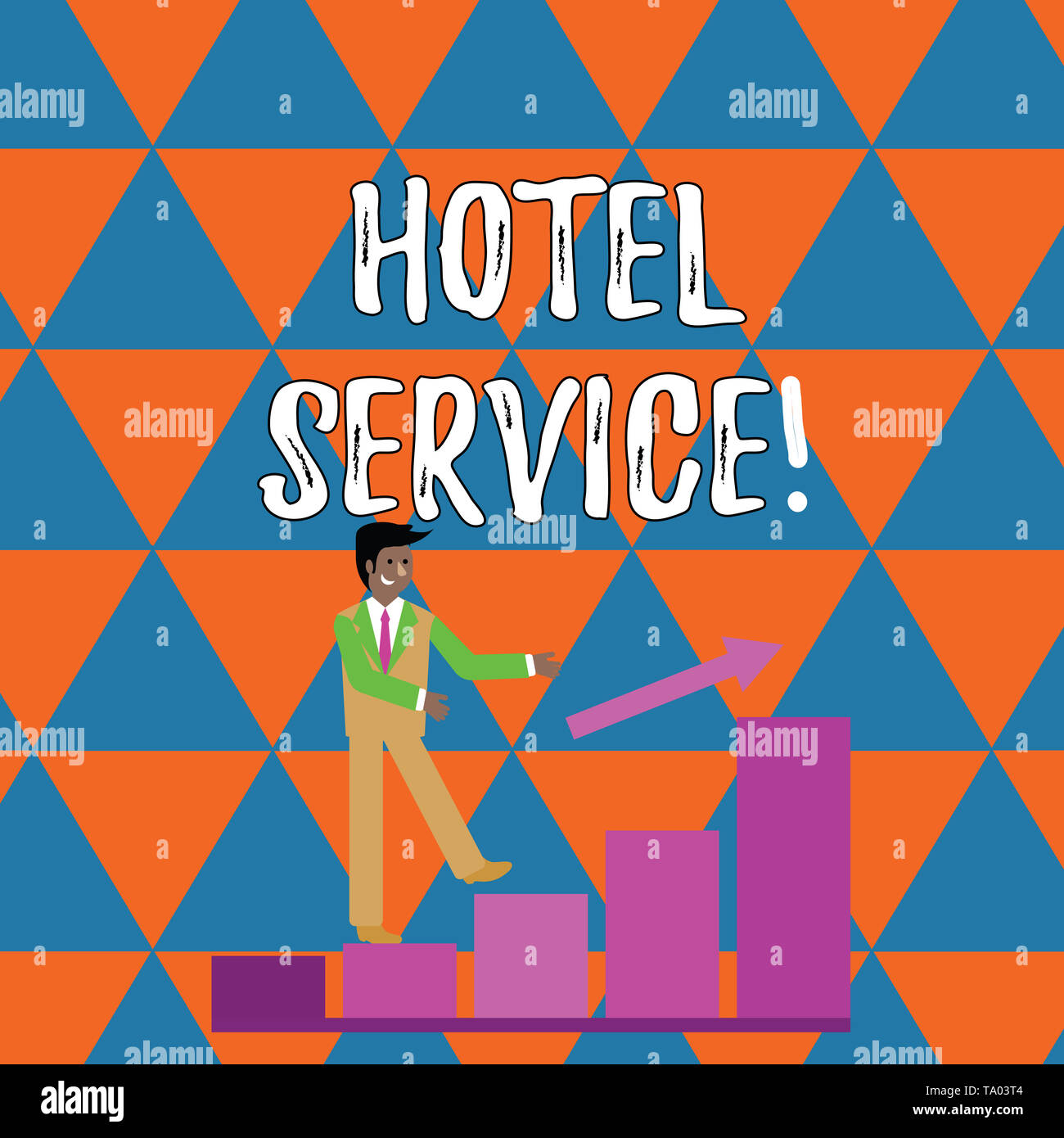 Handwriting text writing Hotel Service. Conceptual photo Providing guests warm accommodation and other services Smiling Businessman Climbing Colorful  - Stock Image