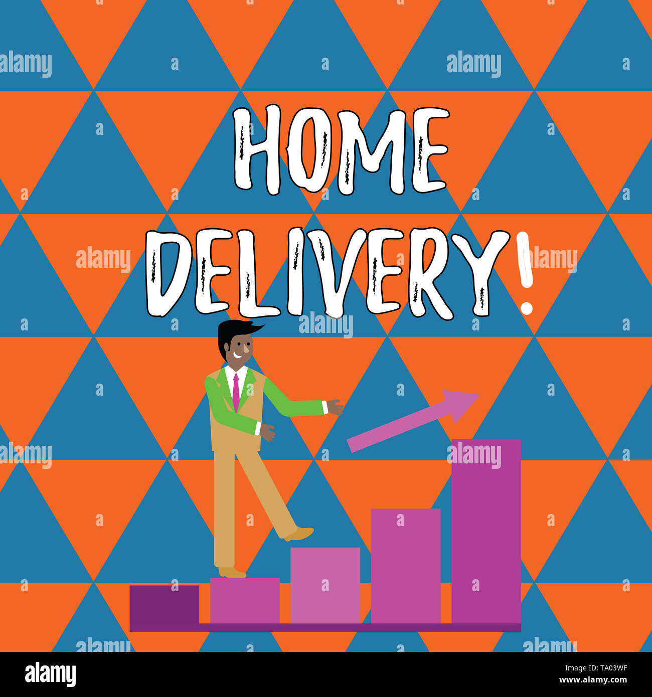 Handwriting text writing Home Delivery. Conceptual photo act of taking goods or parcel directly to customers home Smiling Businessman Climbing Colorfu - Stock Image