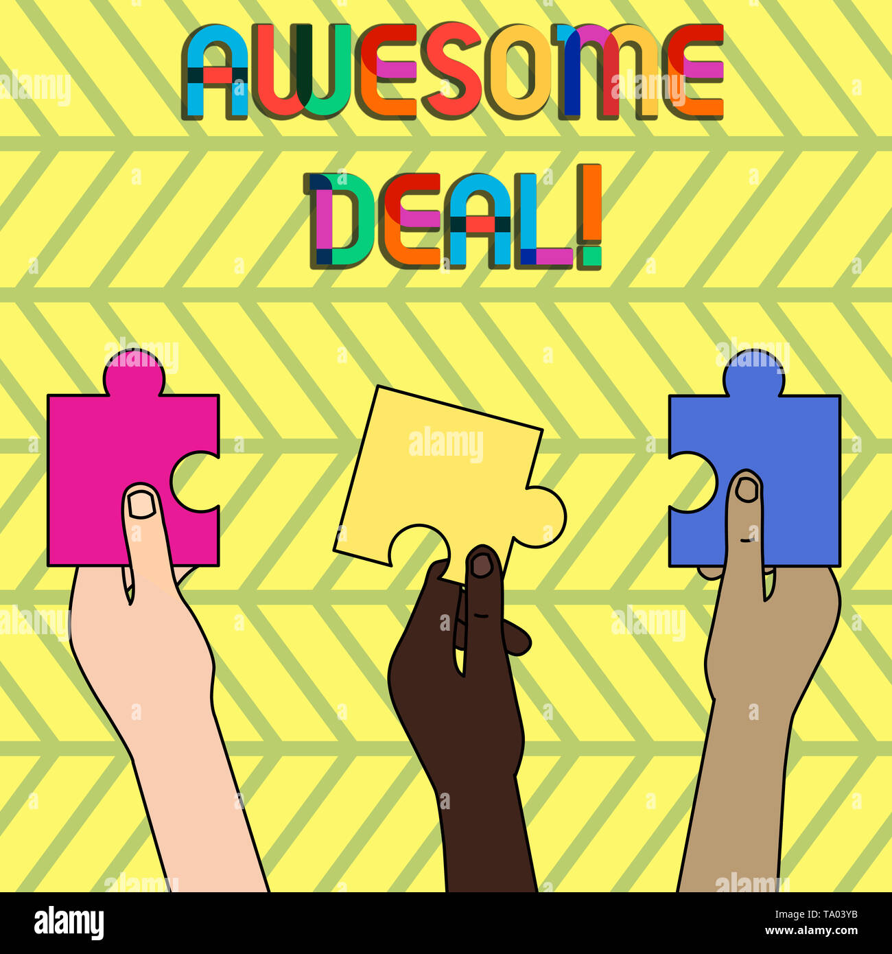 Word writing text Awesome Deal. Business photo showcasing A large but indefinite quantity as like as a good deal of money Three Colored Empty Jigsaw P - Stock Image