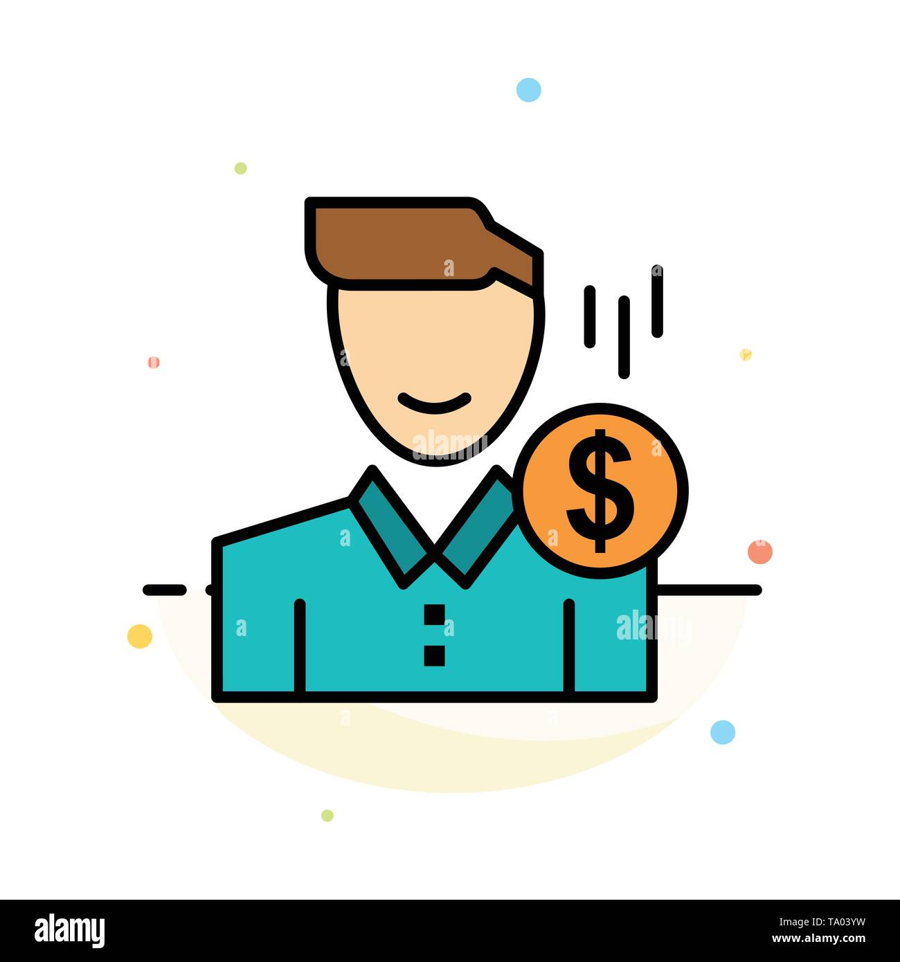 Cost, Fee, Male, Money, Payment, Salary, User Abstract Flat Color Icon Template - Stock Image
