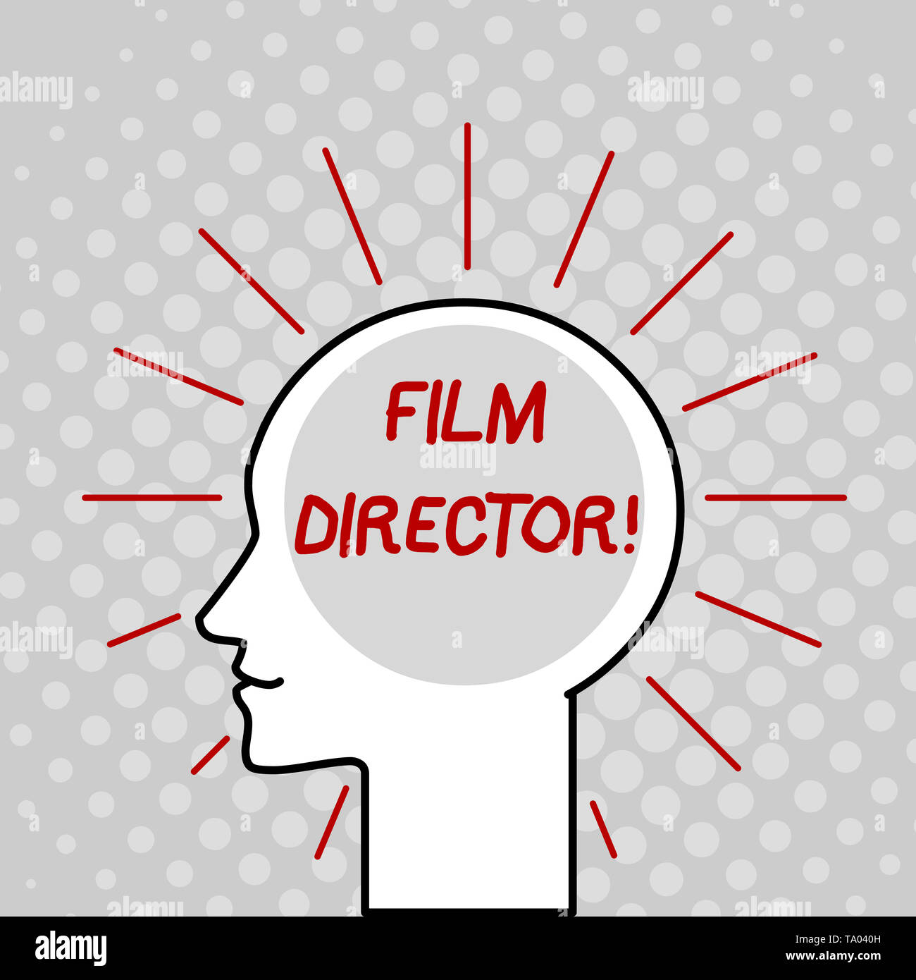 Writing note showing Film Director. Business concept for a demonstrating who is in charge of making and directing a film Outline Silhouette Human Head - Stock Image