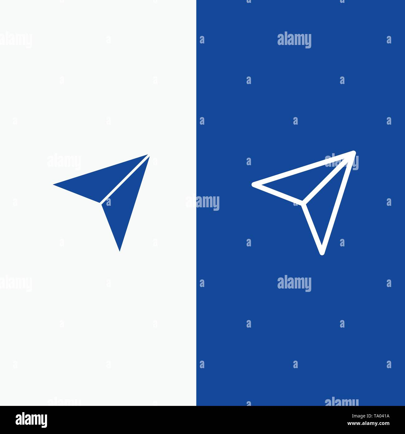 Arrow, Pointer, Up, Next Line and Glyph Solid icon Blue banner Line and Glyph Solid icon Blue banner - Stock Image