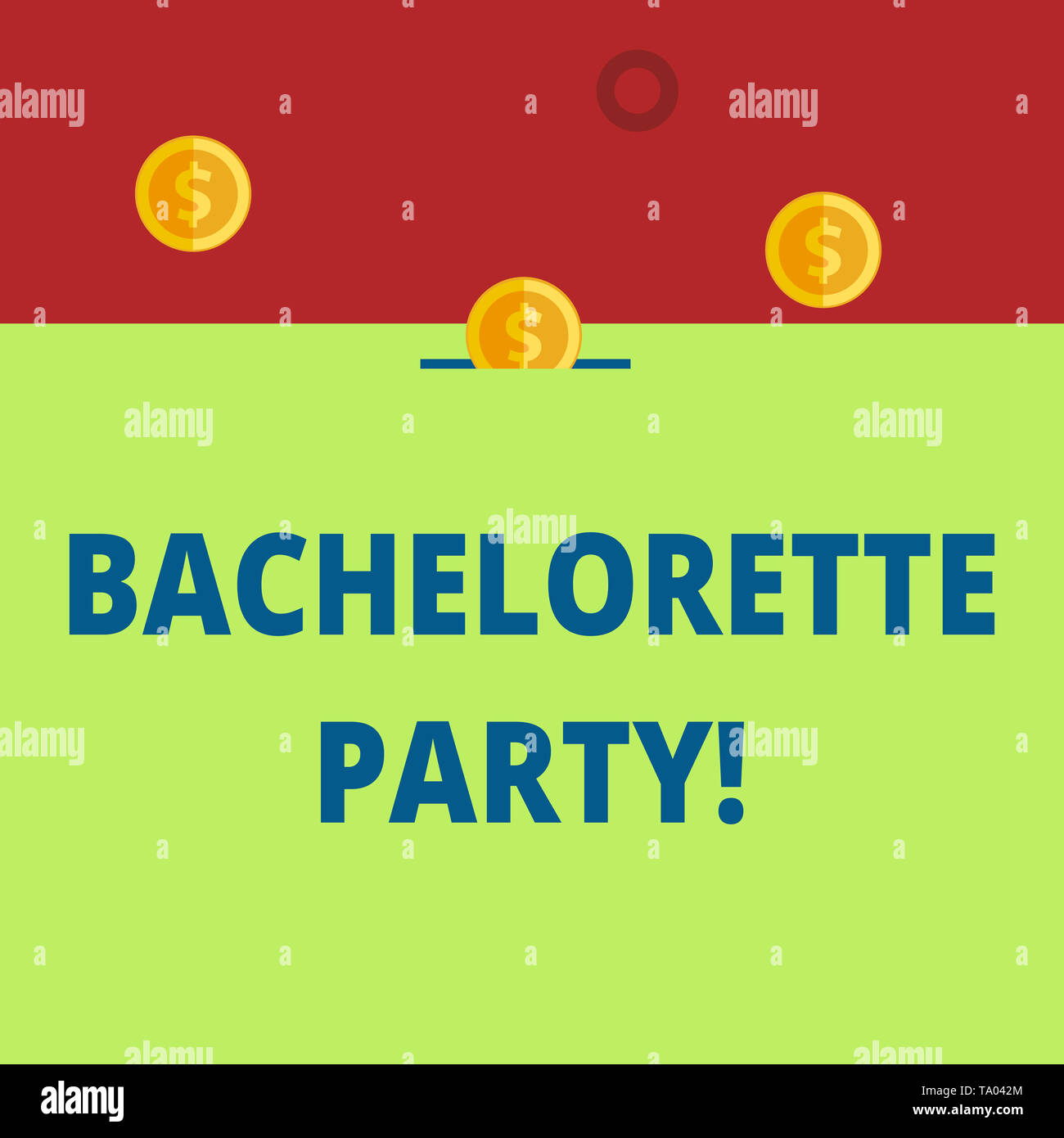 Word writing text Bachelorette Party. Business photo showcasing a party given for a woanalysis who is about to get married Three gold spherical coins  - Stock Image