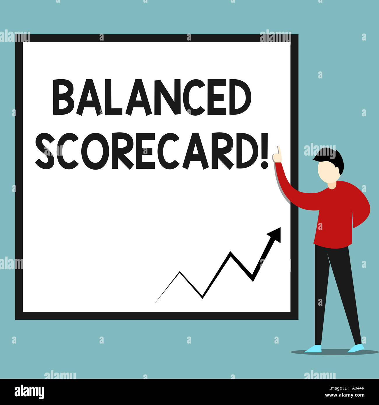 Word writing text Balanced Scorecard. Business photo showcasing a perforanalysisce metric used in strategic analysisagement Zigzag arrow line diagram  - Stock Image
