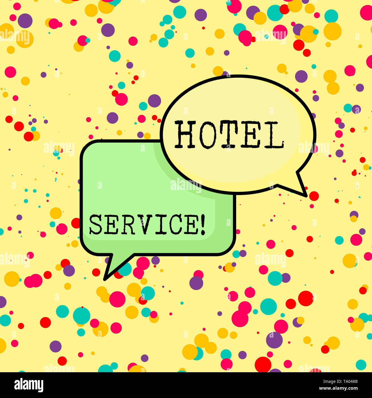 Writing note showing Hotel Service. Business concept for Providing guests warm accommodation and other services Pair of Overlapping Blank Speech Bubbl - Stock Image
