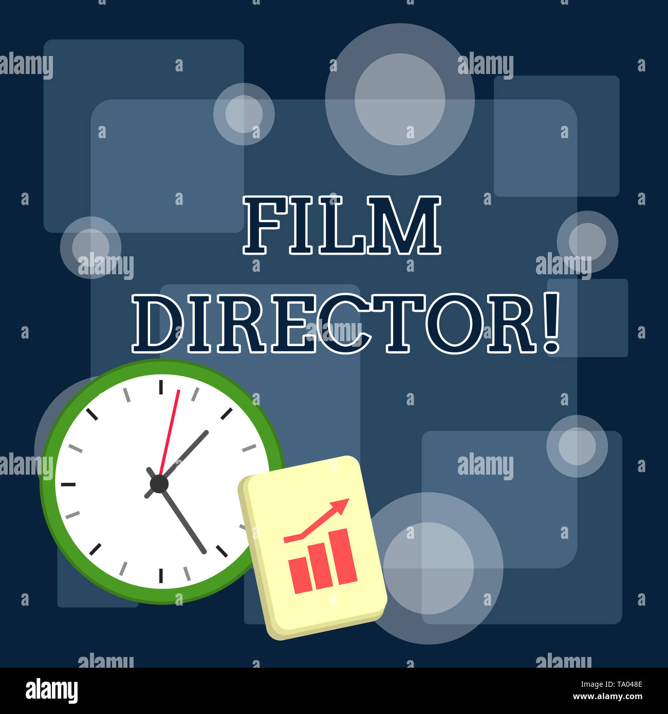 Writing note showing Film Director. Business concept for a demonstrating who is in charge of making and directing a film Layout Wall Clock Notepad wit - Stock Image