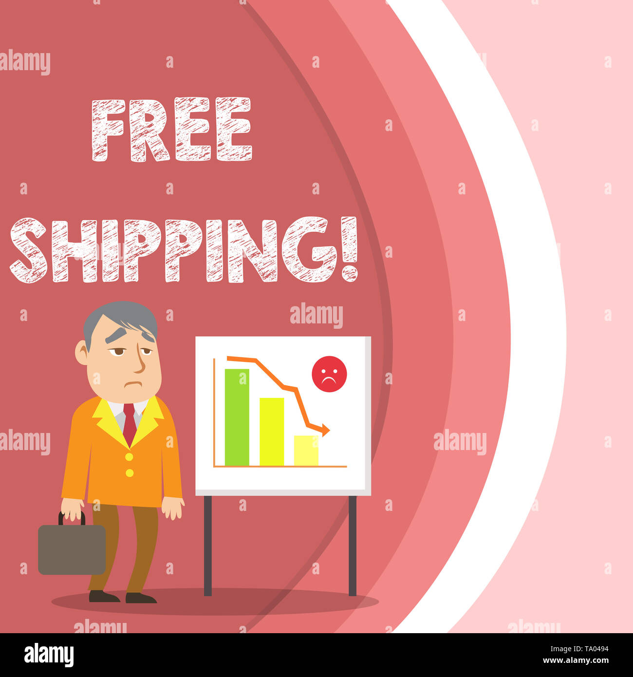 Conceptual hand writing showing Free Shipping. Concept meaning directly deliver to the recipient s is address without charge Businessman with Brief Ca - Stock Image
