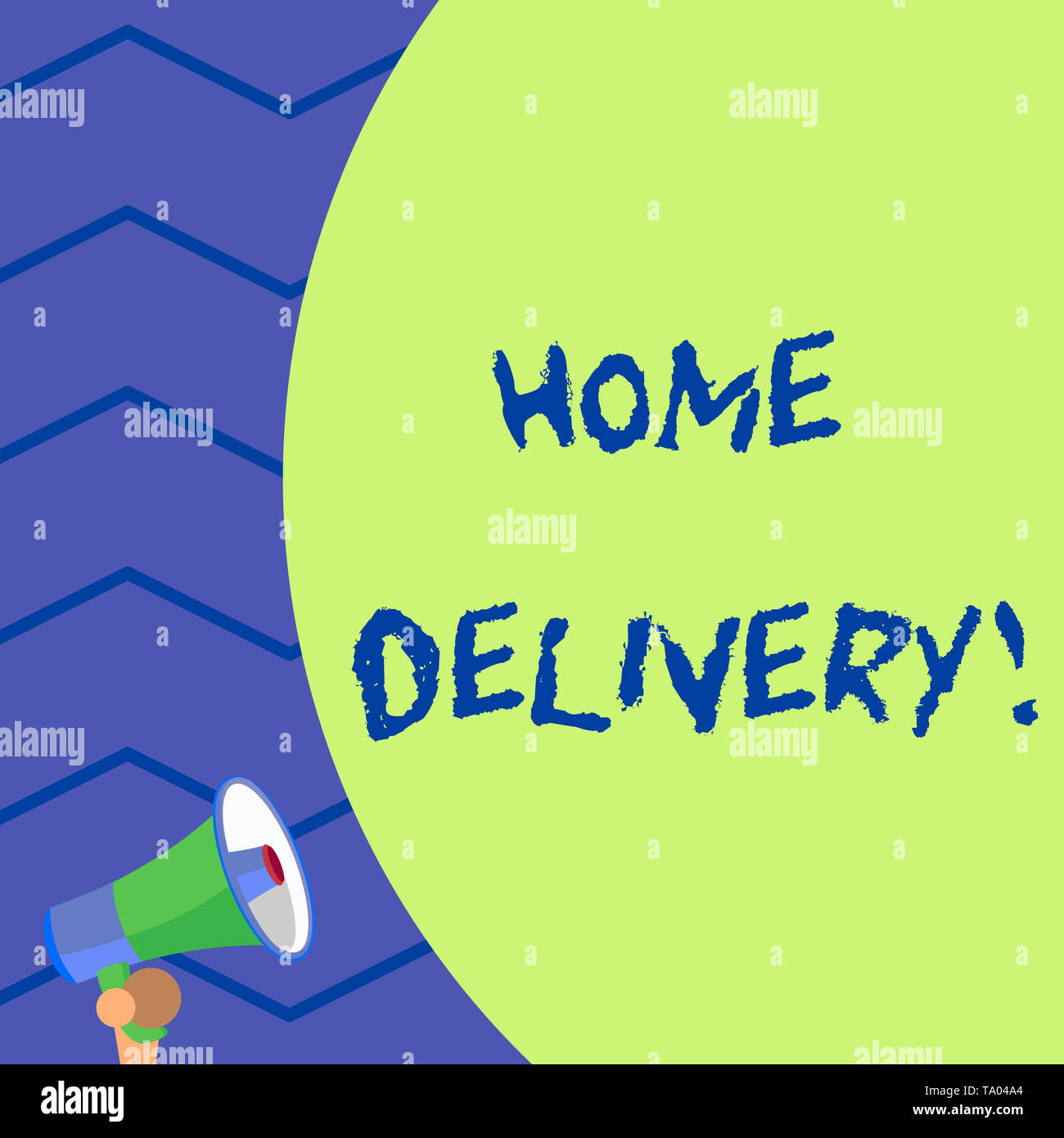 Word writing text Home Delivery. Business photo showcasing act of taking goods or parcel directly to customers home Old design of speaking trumpet lou - Stock Image