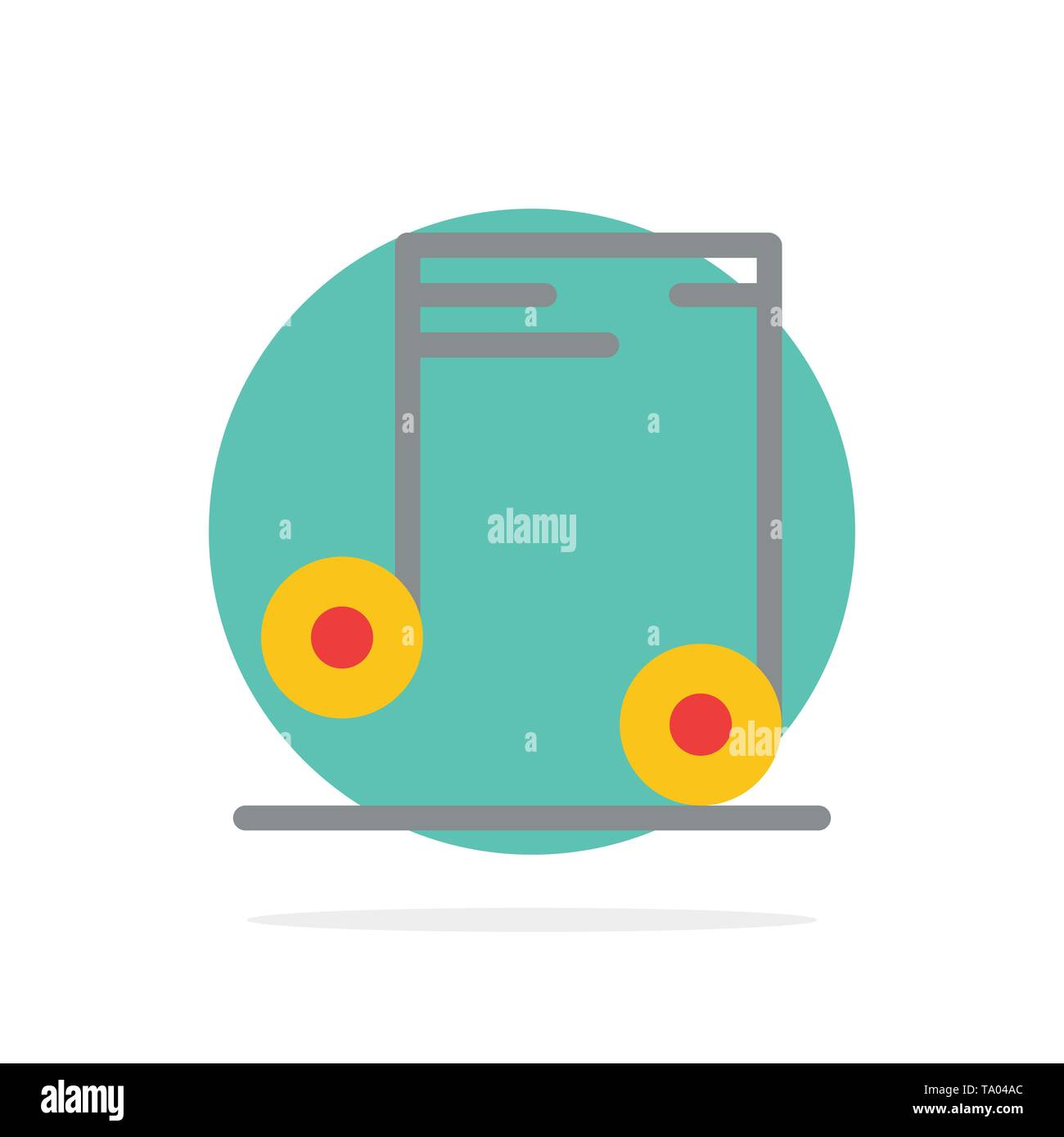 Music, Audio, School Abstract Circle Background Flat color Icon - Stock Image