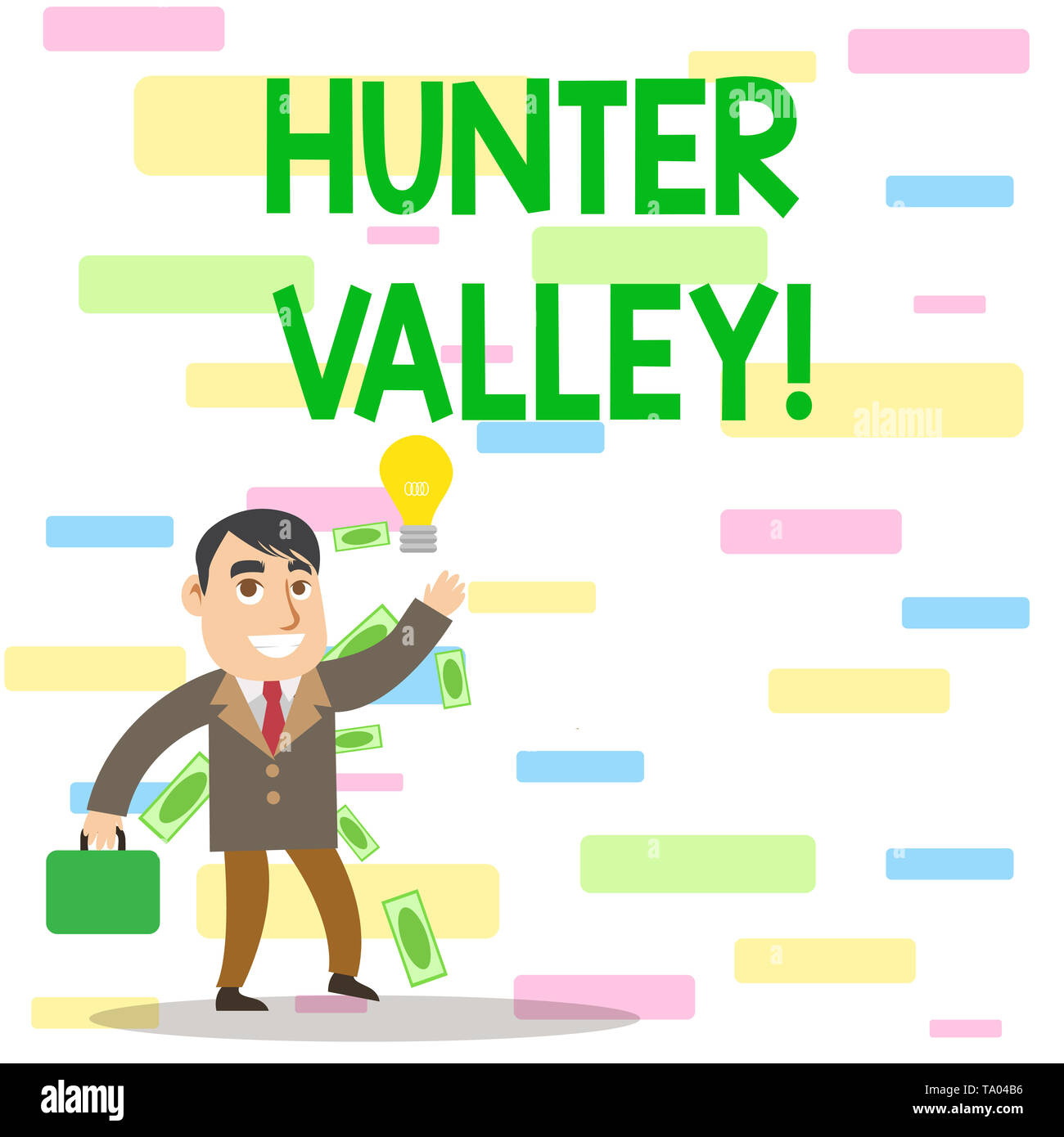 Writing note showing Hunter Valley. Business concept for Australia s is best known wine regions State of New South Wales Successful Businessman Genera - Stock Image