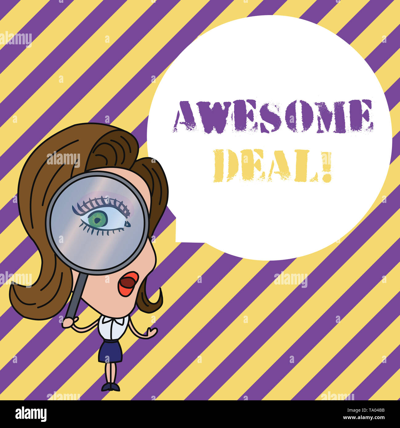 Writing note showing Awesome Deal. Business concept for A large but indefinite quantity as like as a good deal of money Woman Looking Trough Magnifyin - Stock Image