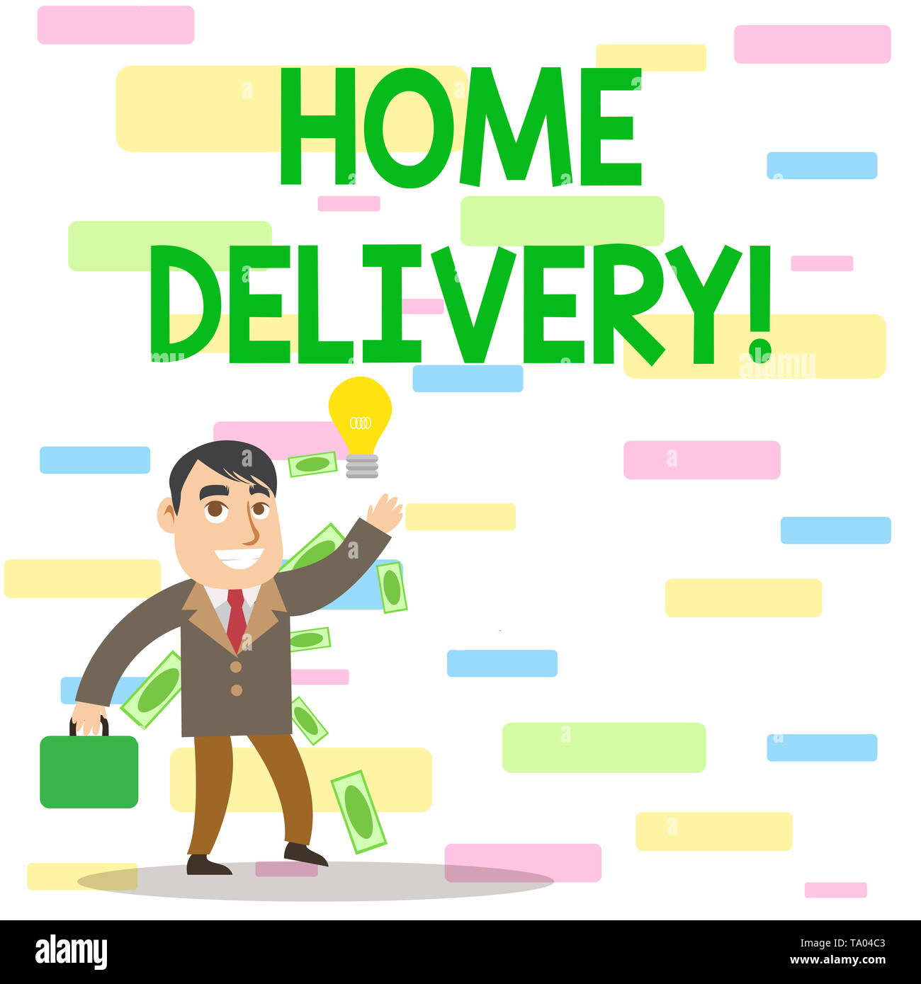 Writing note showing Home Delivery. Business concept for act of taking goods or parcel directly to customers home Successful Businessman Generating Id - Stock Image