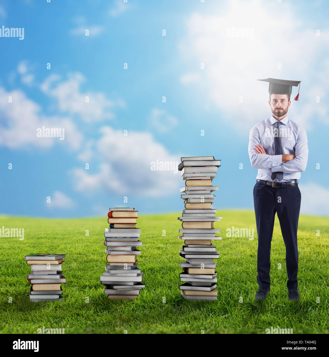 Climb to the degree and the job. - Stock Image