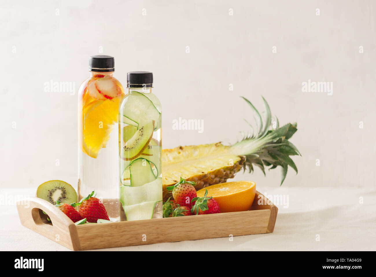 Variety of infused detox water isolated on white, health concept - Stock Image