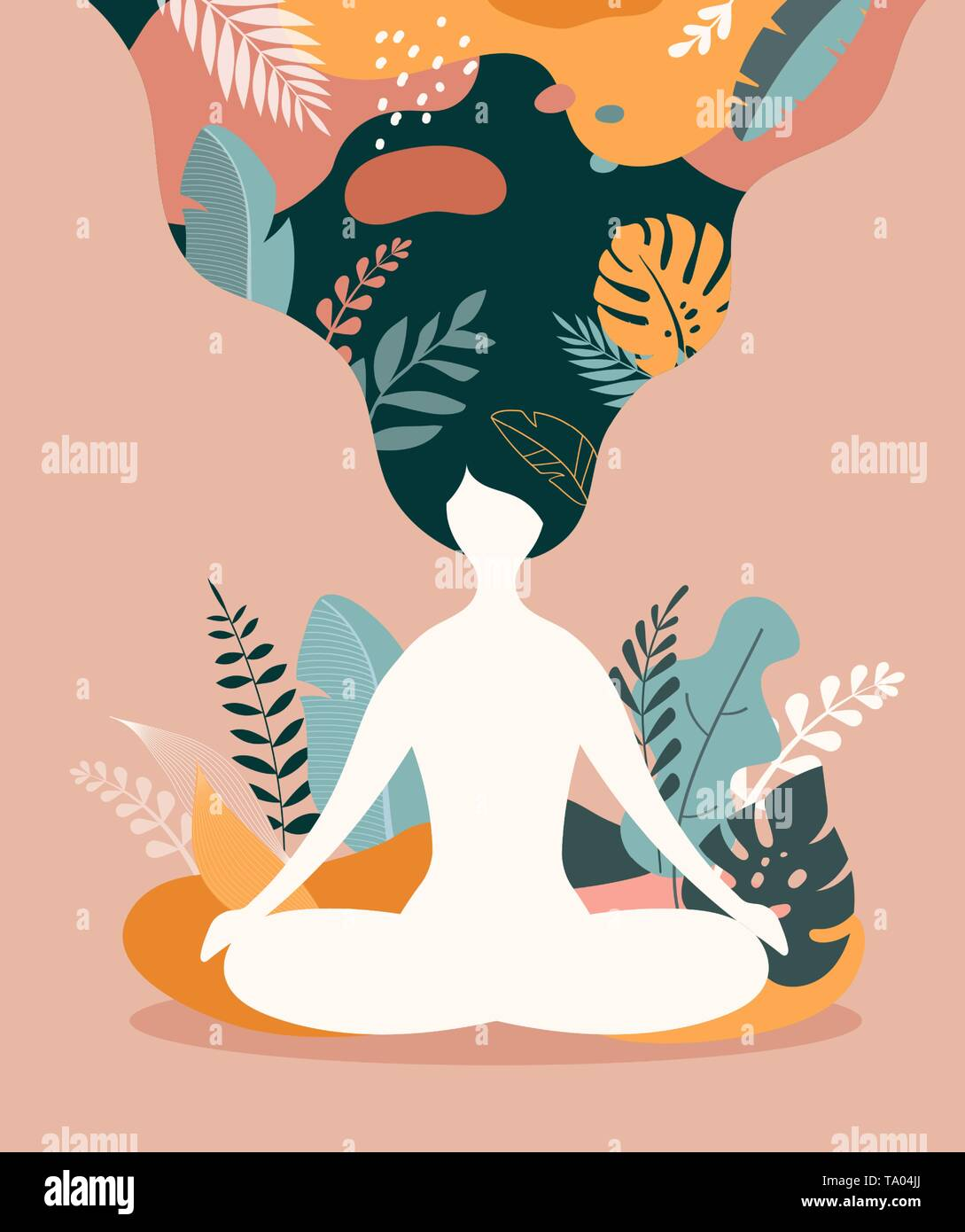 Mindfulness Meditation And Yoga Background In Pastel Vintage Colors Women Sitting With Crossed Legs And Meditating Stock Vector Image Art Alamy