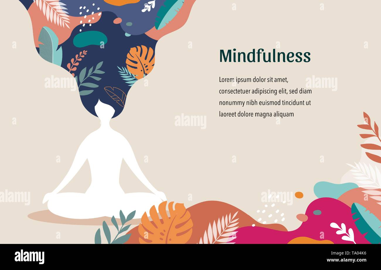 Mindfulness Meditation And Yoga Background In Pastel Vintage Colors Women Sitting With Crossed Legs And Meditating Vector Illustration Stock Vector Image Art Alamy