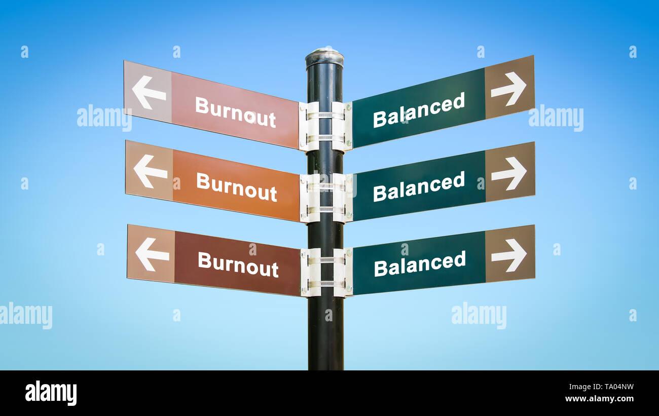 Street Sign the Direction Way to Balanced versus Burnout - Stock Image