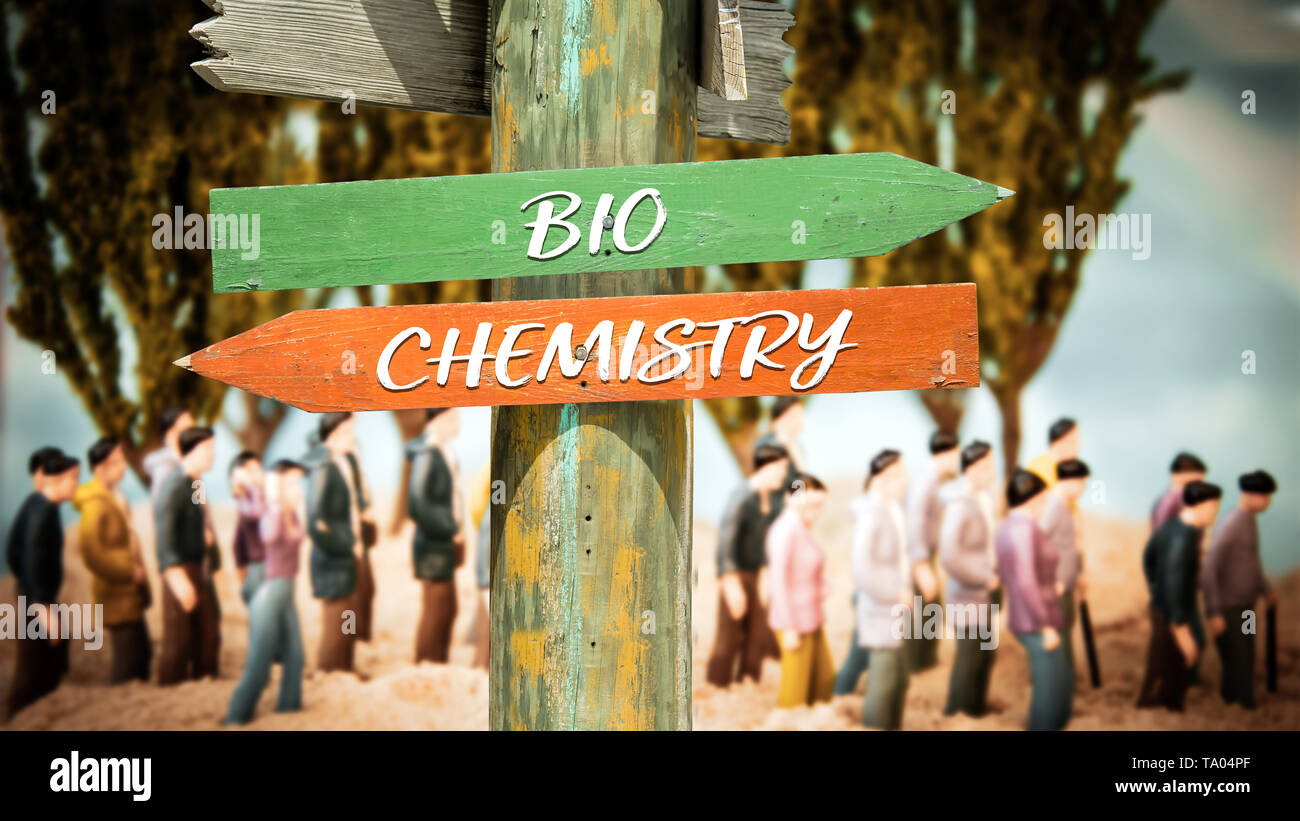 Street Sign the Direction Way to Bio versus Chemistry - Stock Image