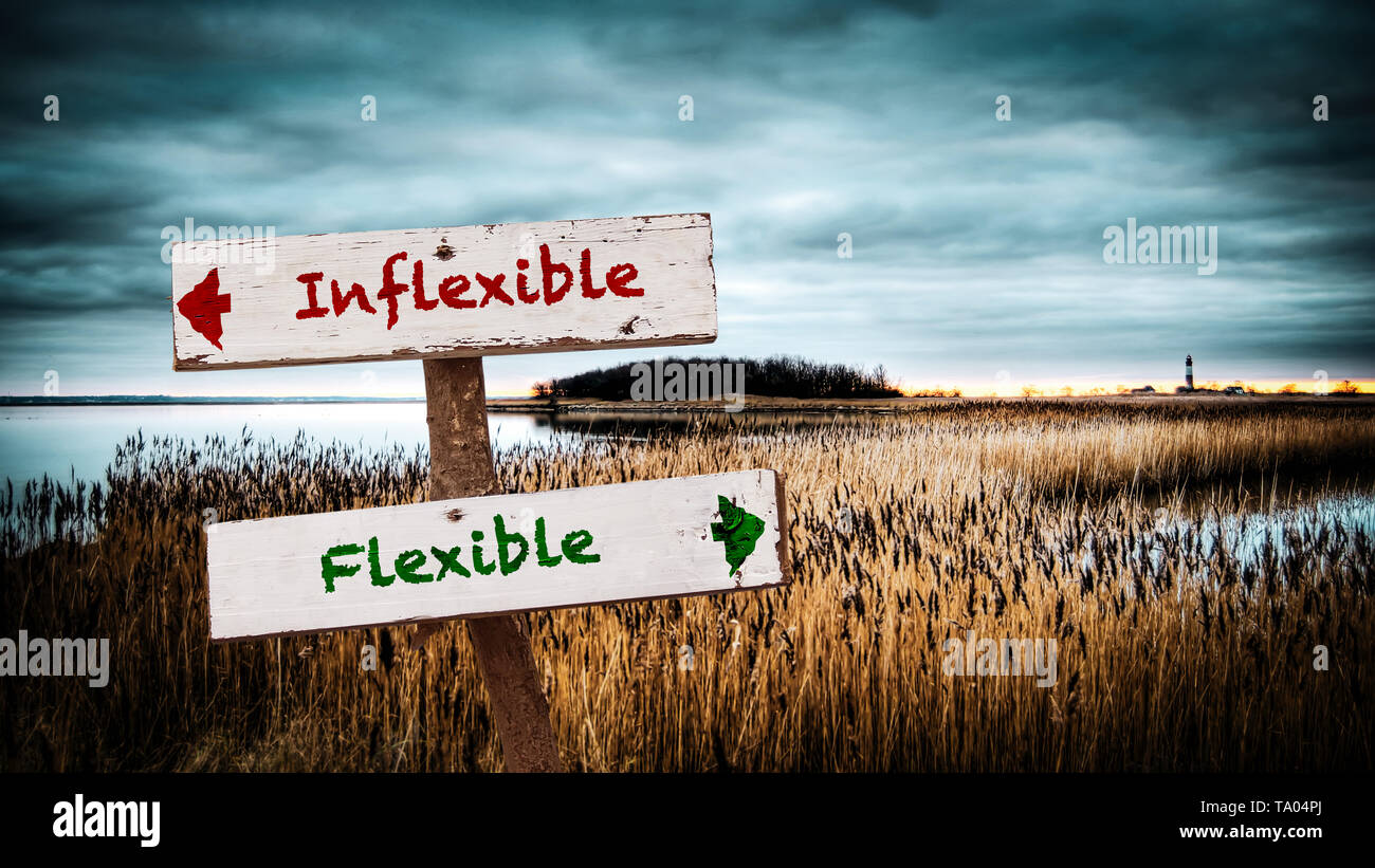 Street Sign the Direction Way to Flexible versus Inflexible - Stock Image