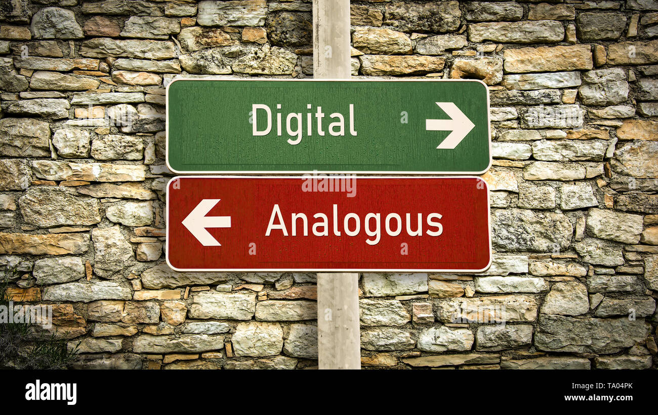 Street Sign the Direction Way to Digital versus Analogous - Stock Image
