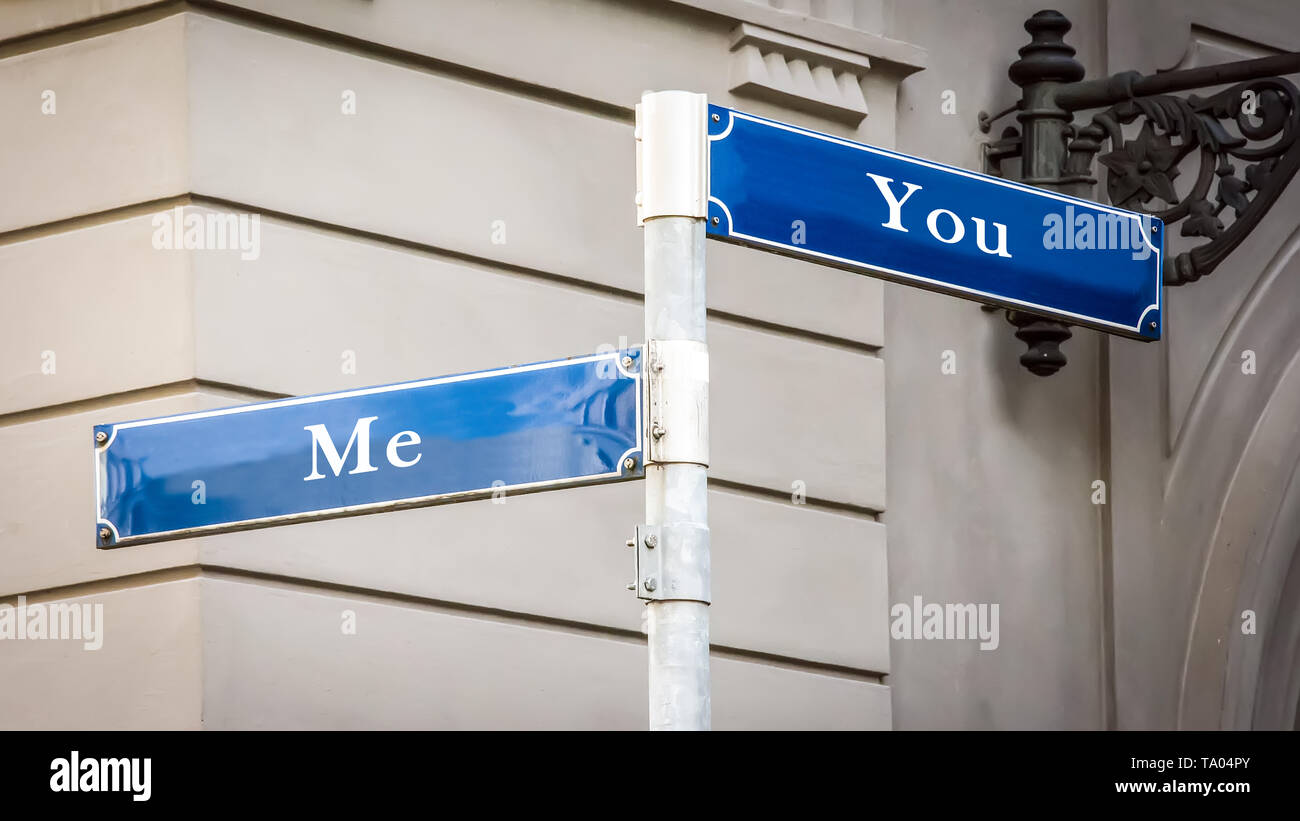 Street Sign the Direction Way to Me versus You - Stock Image