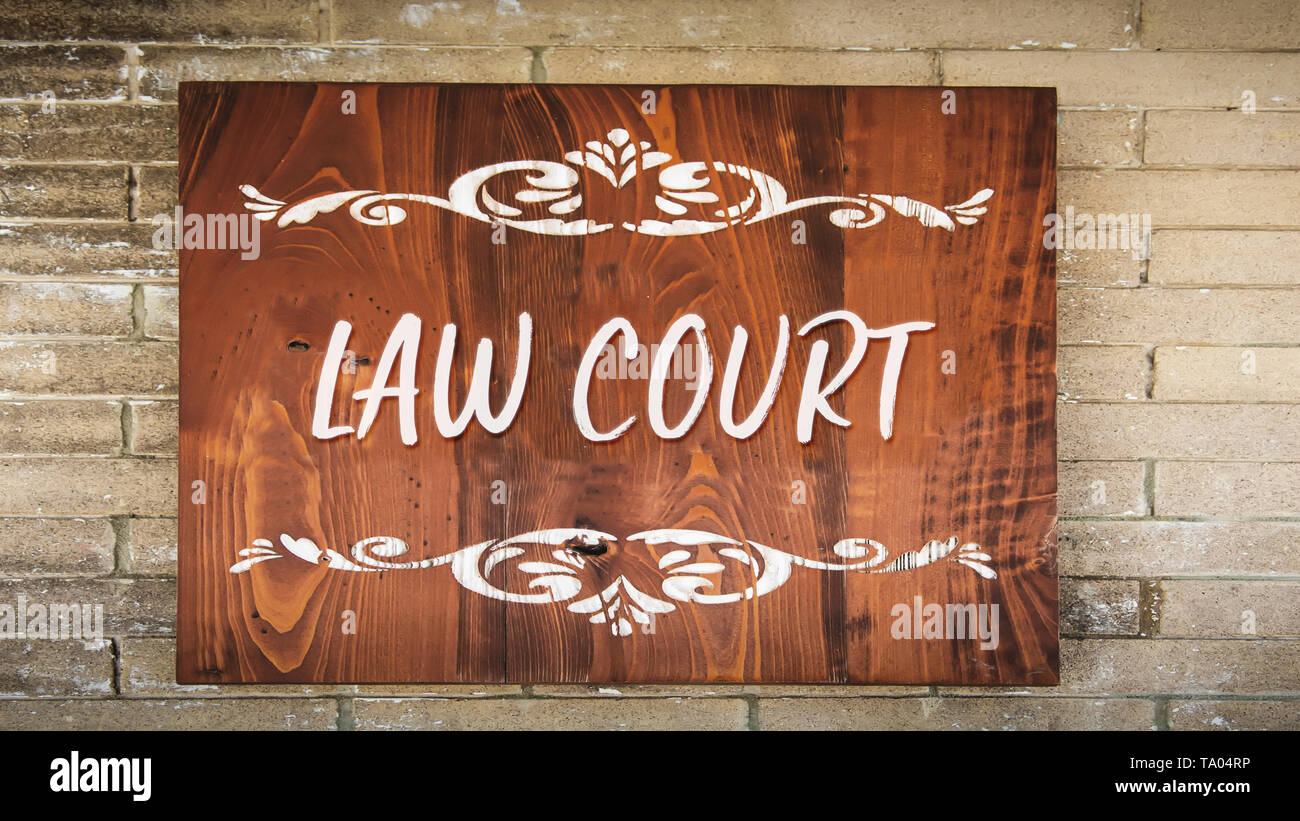 Street Sign the Direction Way to Law Court - Stock Image