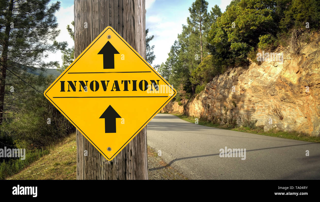 Street Sign the Direction Way to Innovation - Stock Image