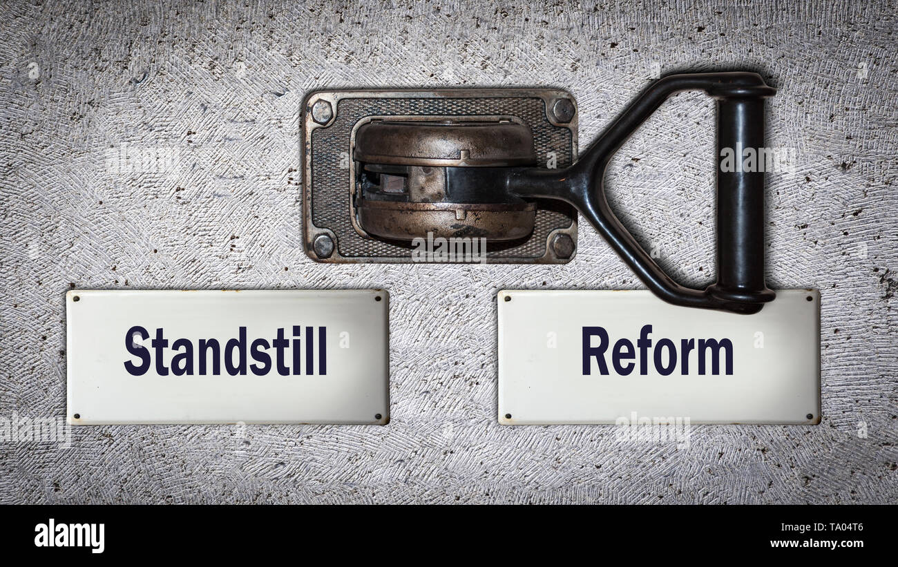 Wall Switch the Direction Way to Reform versus Standstill - Stock Image