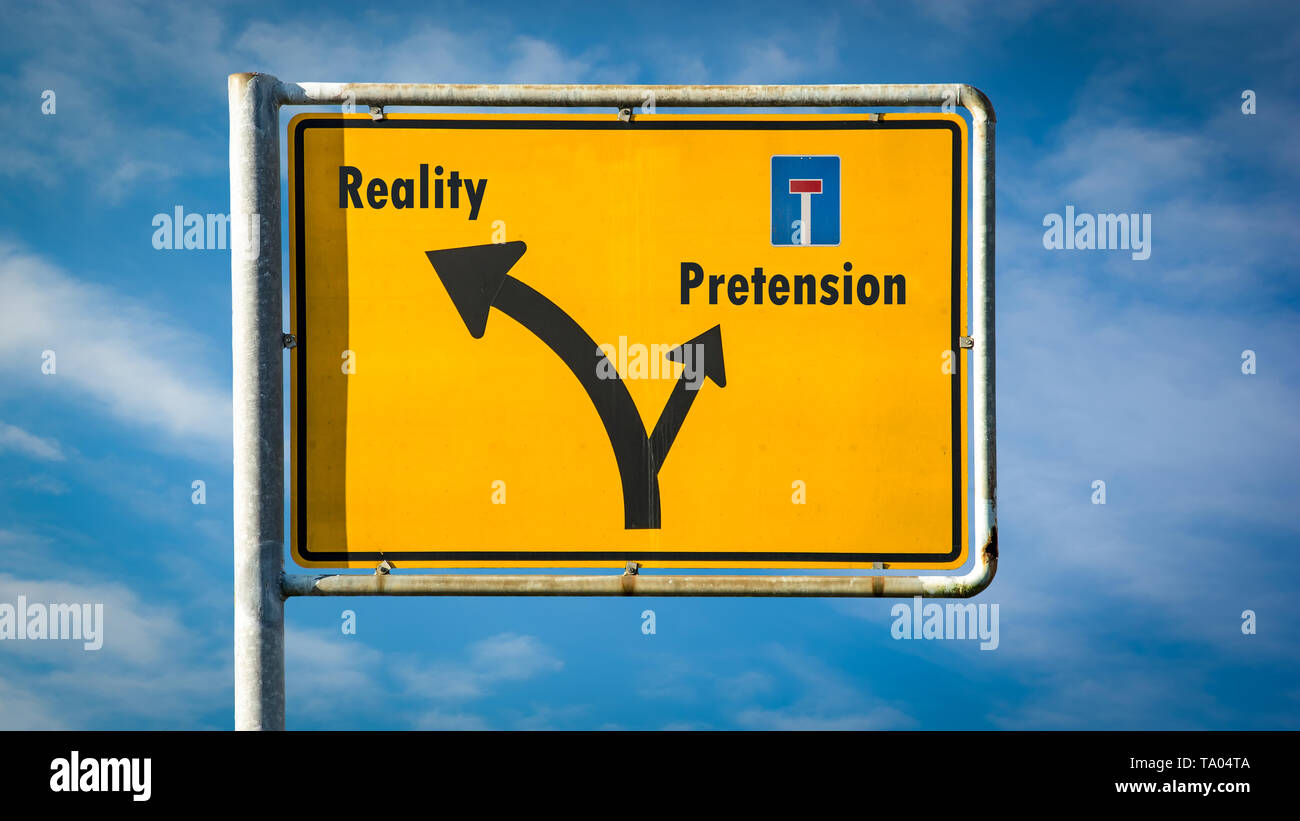 Street Sign the Direction Way to Reality versus Pretension - Stock Image