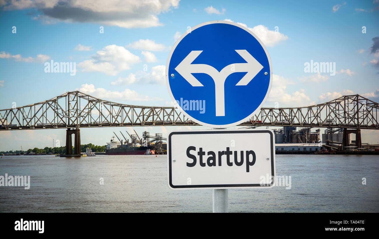 Street Sign the Direction Way to Startup - Stock Image
