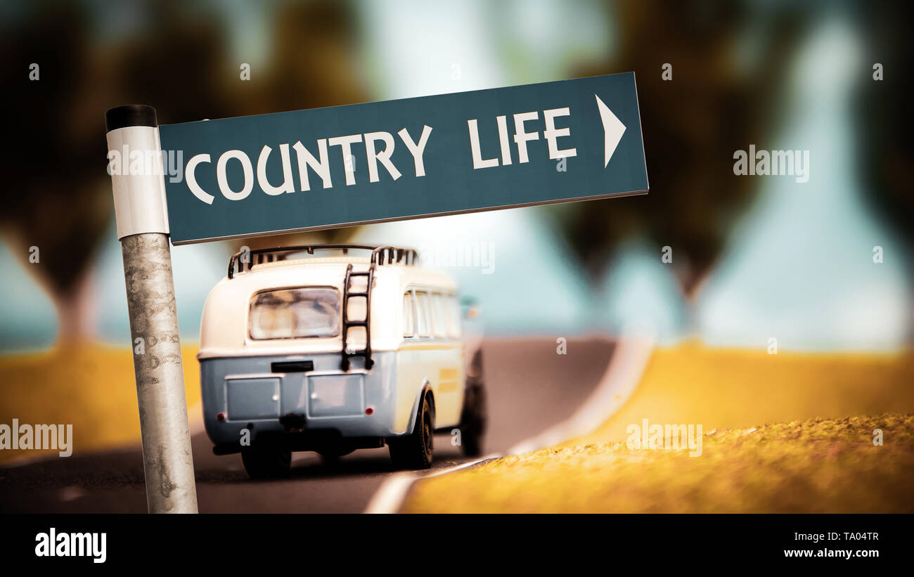 Street Sign the Direction Way to  Country Life - Stock Image