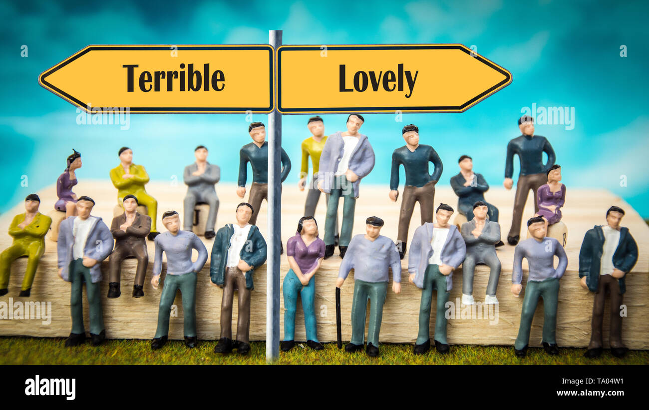 Street Sign the Direction Way to Lovely versus Terrible - Stock Image