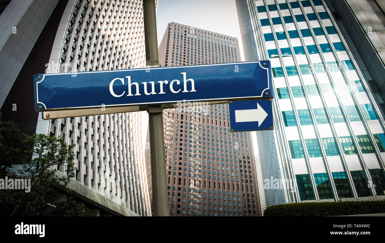 Street Sign the Direction Way to Church - Stock Image