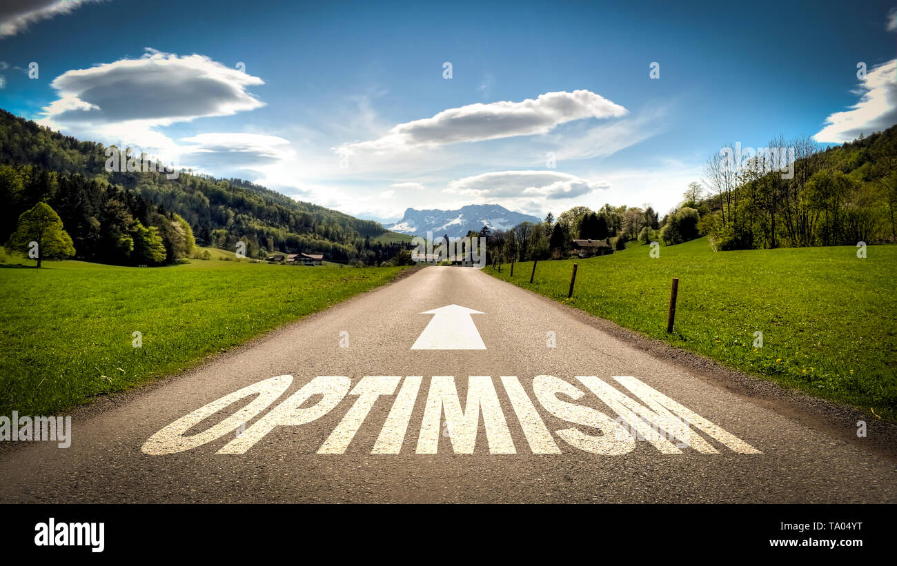 Street Sign the Direction Way to Optimism - Stock Image